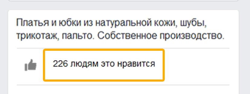 Визуальное изображение количества подписчиков, которое отображается на главной странице сообщества в Фейсбук. В начале продвижения число поклонников около нуля.