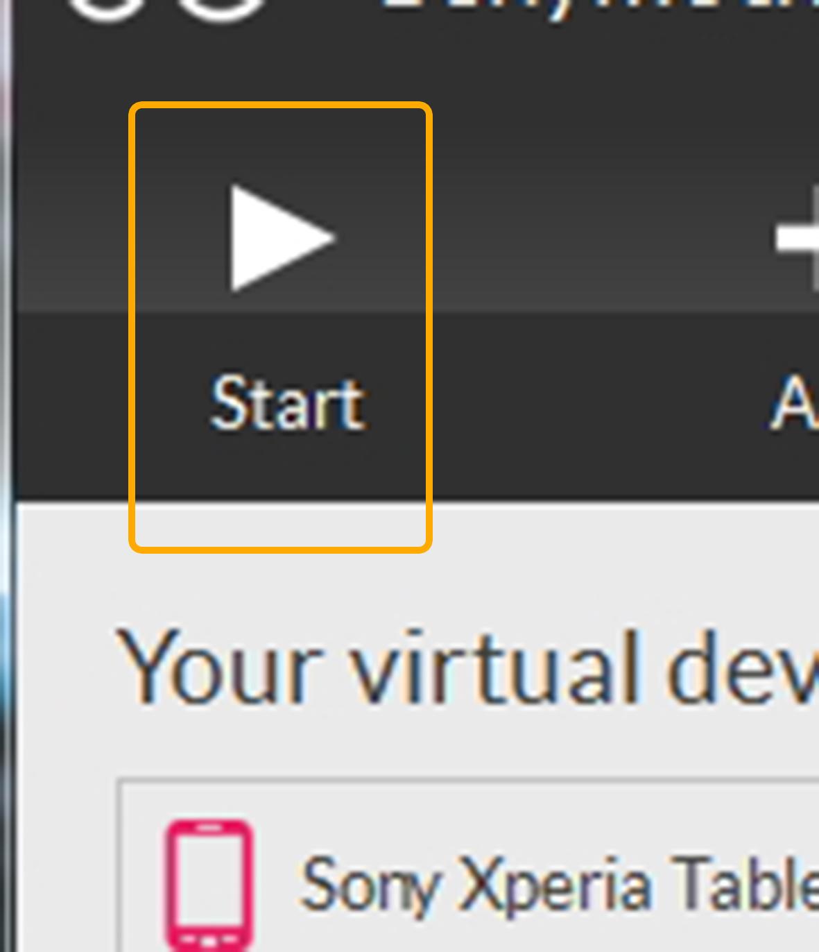 Процесс запуска виртуального устройства, состоящий из нажатия на кнопку, для дальнейших действий.