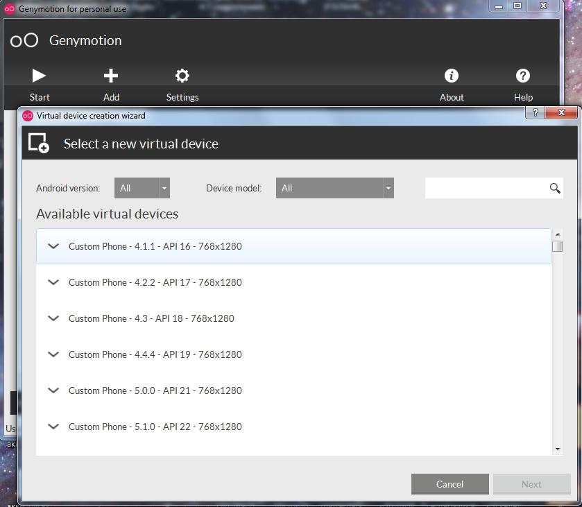 Большой список всех виртуальных устройств, которые можно выбрать из окна программы Genymotion, для использования Инстаграм с компьютера.