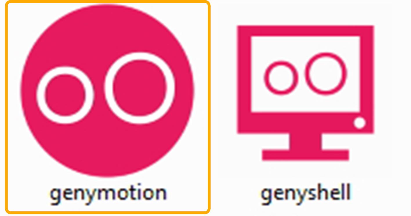 Две иконки на рабочем столе персонального компьютера и пояснение на какой значок нужно нажать, чтобы запустить Genymotion в первый раз.
