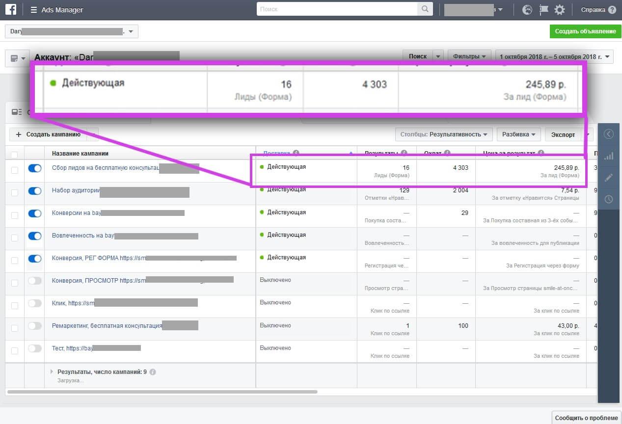 Пример второго отчета, с результатами настройки на лид форму Фейсбук и Инстаграм, количеством полученных лидов и их стоимостью.