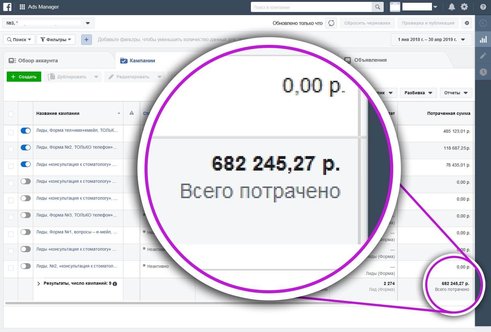 Фото-отчет из менеджера рекламы Фейсбук с результатами кампаний, стоимостью и количеством полученных лидов.